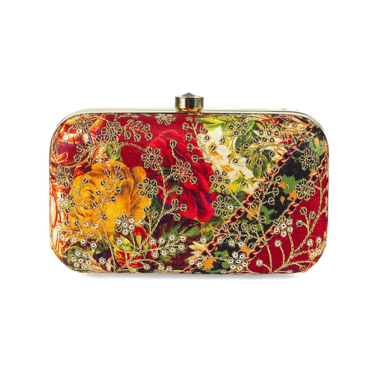 Impressive Multi Colored Handcrafted Partywear Sequin Embroidered Silk Clutch