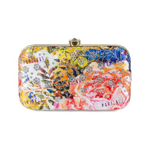 Refreshing Yellow-Multi Colored Handcrafted Partywear Sequin Embroidered Silk Clutch