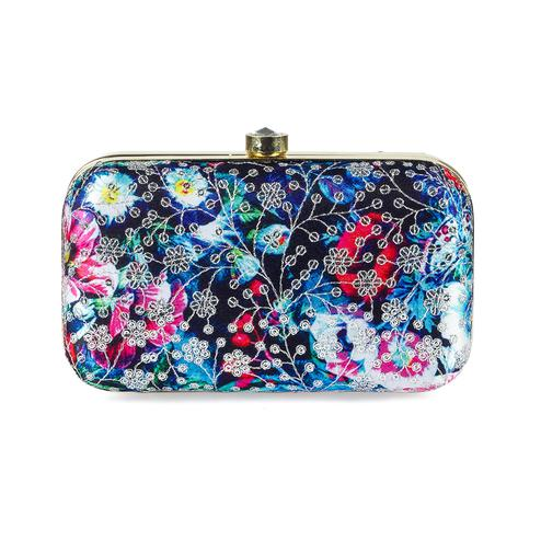 Hypnotic Black-Multi Colored Handcrafted Partywear Sequin Embroidered Silk Clutch