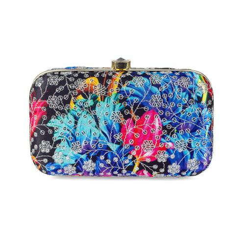Flattering Black-Blue Colored Handcrafted Partywear Sequin Embroidered Silk Clutch