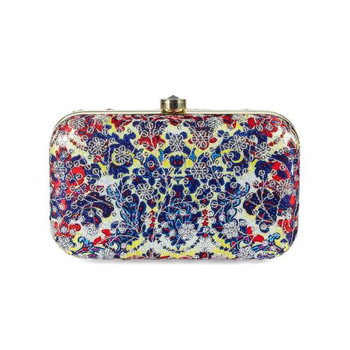 Excellent Blue-Multi Colored Handcrafted Partywear Sequin Embroidered Silk Clutch