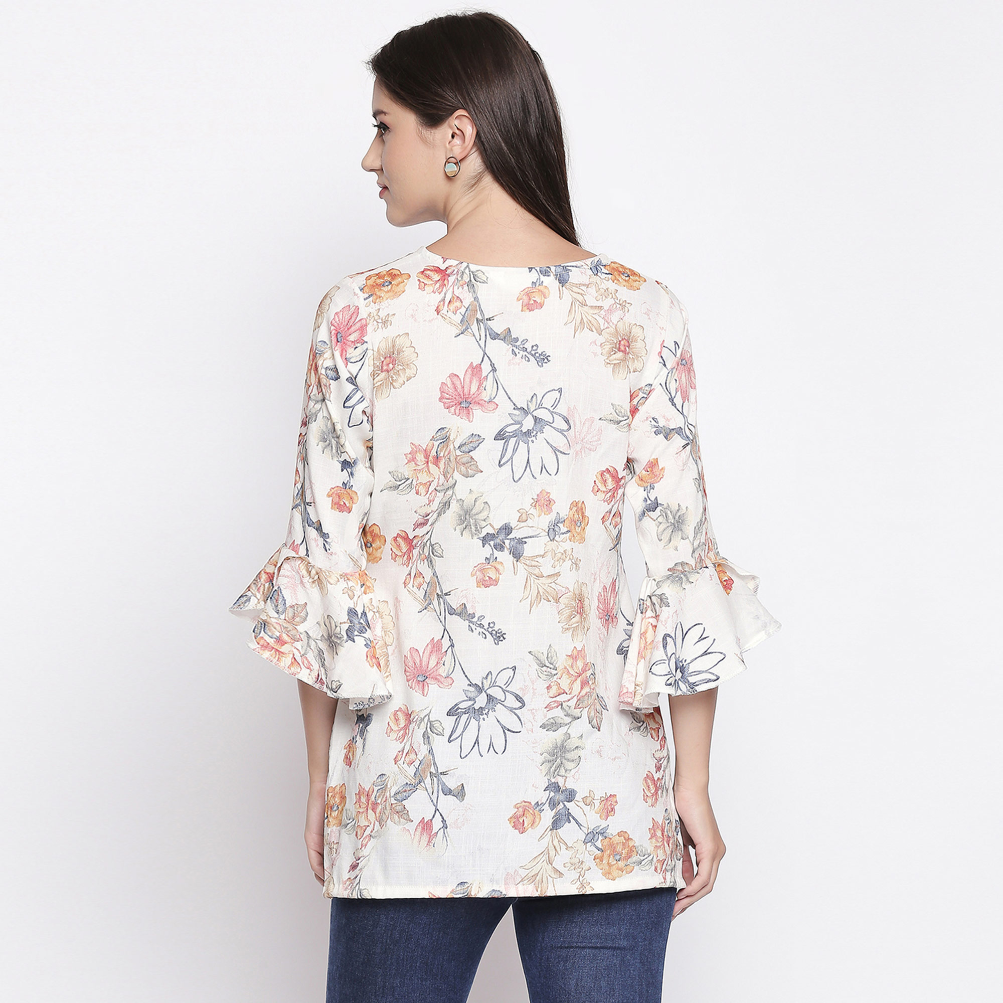 Classy Cream Colored Casual Wear Floral Printed Cotton Top