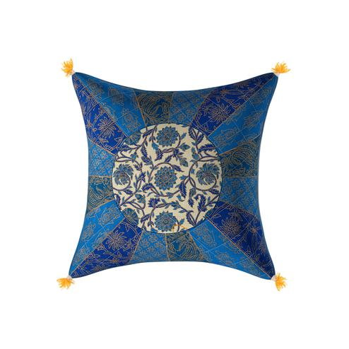 Demanding Golden Blue Firozi Floral Print Cream Base Cotton Cushion Cover