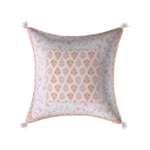 Unique White Base Golden Brown Print Cotton Cushion Cover