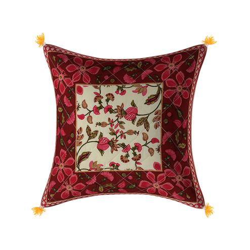 Gleaming Maroon Base Pink Flower Pattern Cotton Cushion Cover
