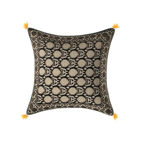 Exceptional Black Base Cream Flower With Golden Print Cotton Cushion Cover