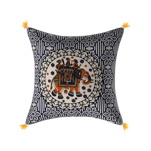 Energetic Navy Blue Base Elephant Print Cotton Cushion Cover