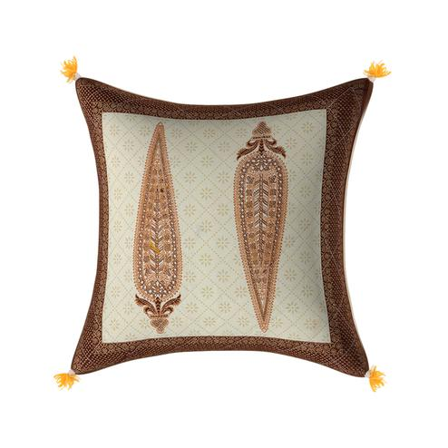 Opulent Cream Base Golden Leaves Brown Border Cotton Cushion Cover