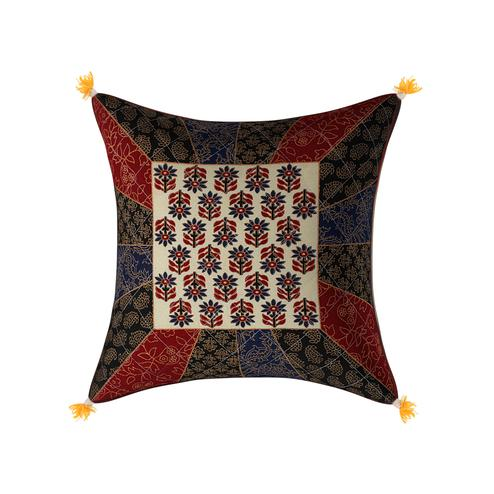 Pleasant Golden Print Multi Colour Central Square Floral Print Cushion Cover