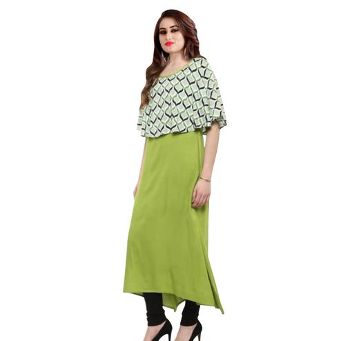 Jazzy Pista Green Colored Partywear Printed Crepe Kurti