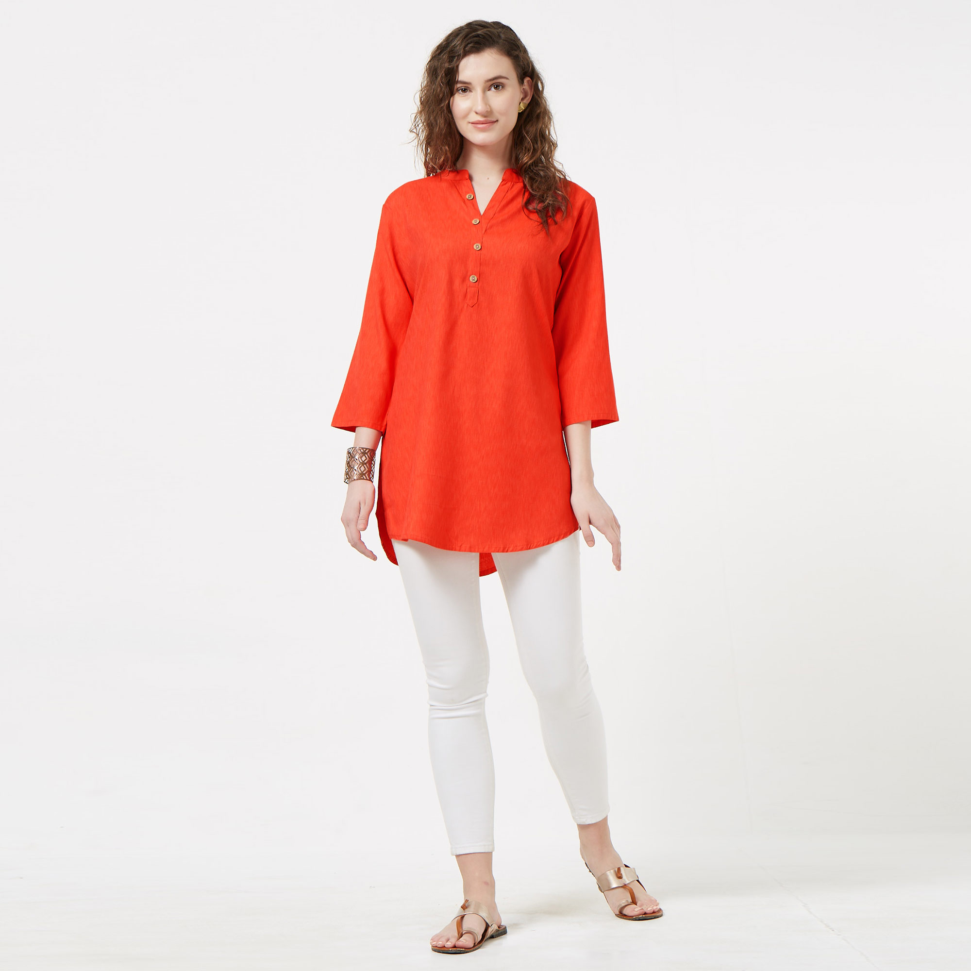 Groovy Orange Colored Casual Wear Cotton Top