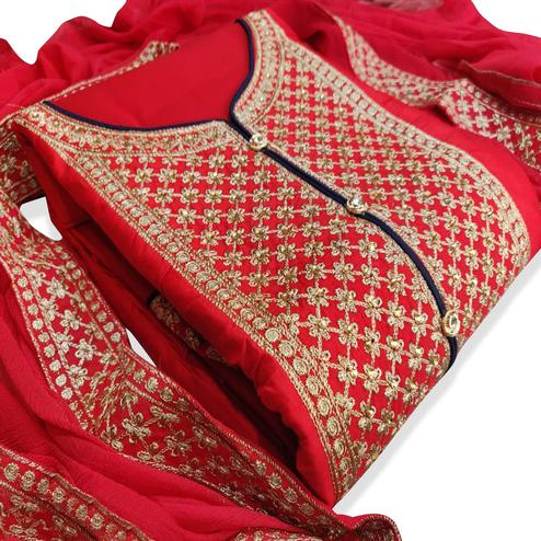 Attractive Red Colored Party Wear Embroidered Cotton Dress Material