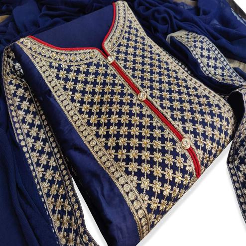 Beautiful Navy Blue Colored Party Wear Embroidered Cotton Dress Material