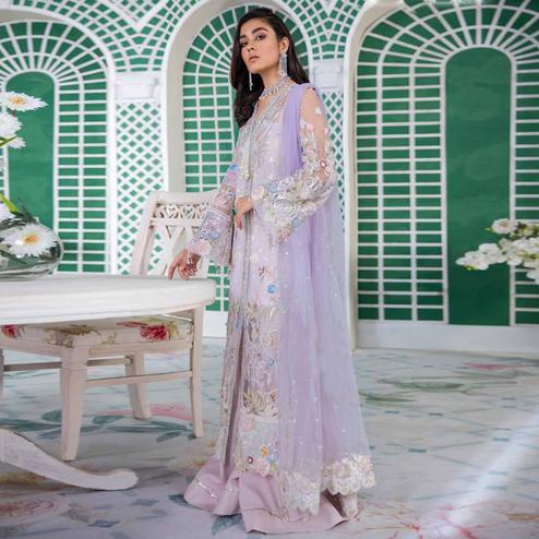 Intricate Light Purple Colored Party Wear Embroidered Net Palazzo Suit