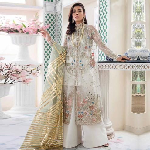 Arresting Cream Colored Party Wear Embroidered Net Palazzo Suit