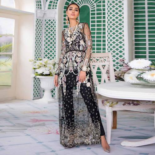 Trendy Black Colored Party Wear Embroidered Net Pant Style Suit