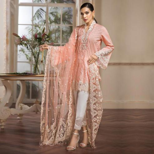 Prominent Peach Colored Partywear Embroidered Pure Cotton Pant Style Suit