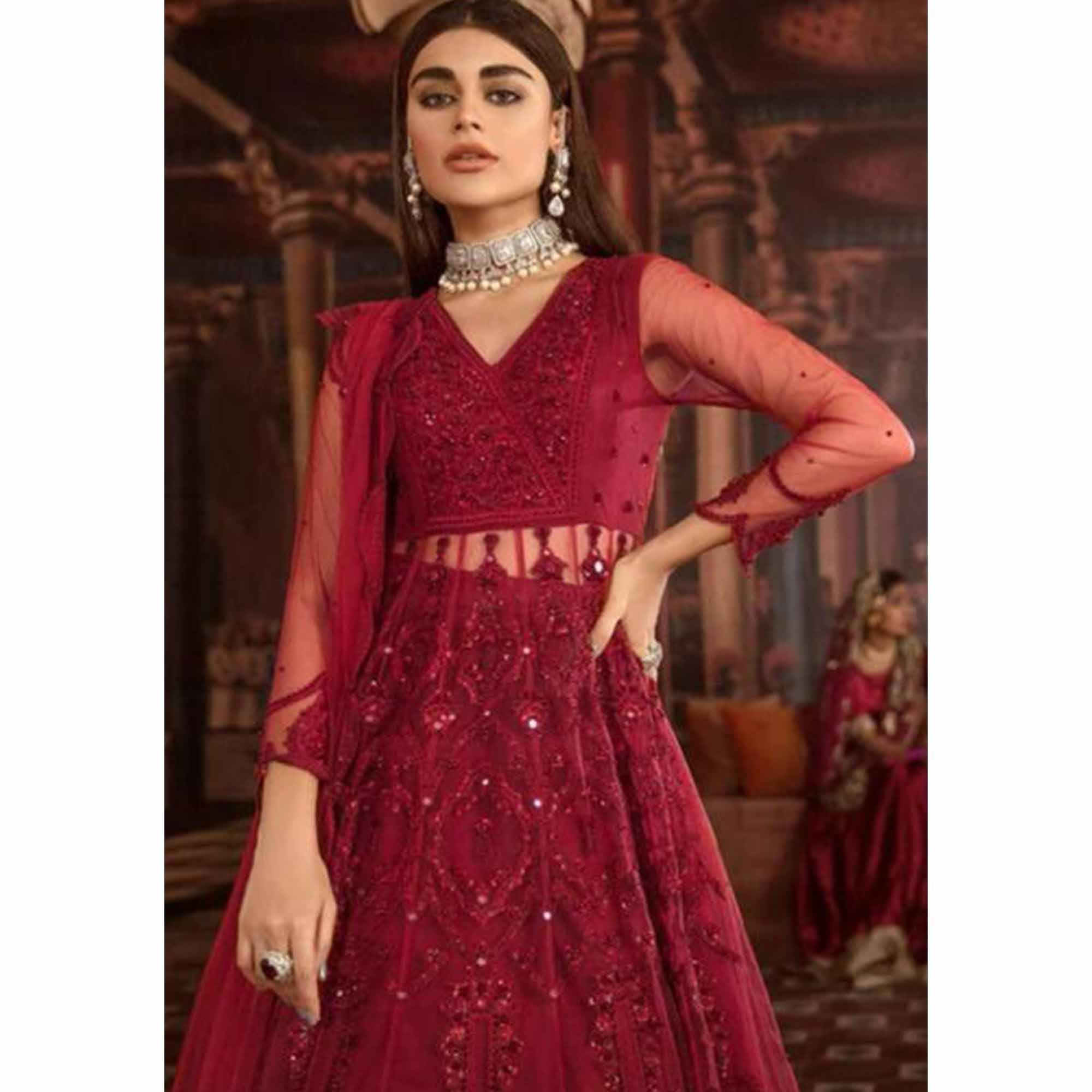 Blooming Red Colored Party Wear Embroidered Net Lehenga Kameez