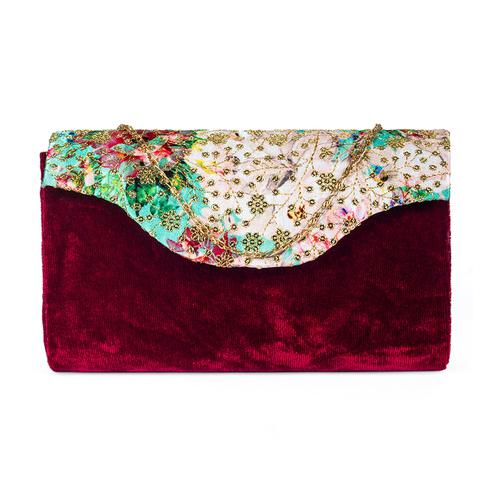 Blissful Maroon Colored Handcrafted Partywear Sequin Embroidered Velvet Sling Bag