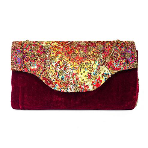 Ideal Maroon Colored Handcrafted Partywear Sequin Embroidered Velvet Sling Bag