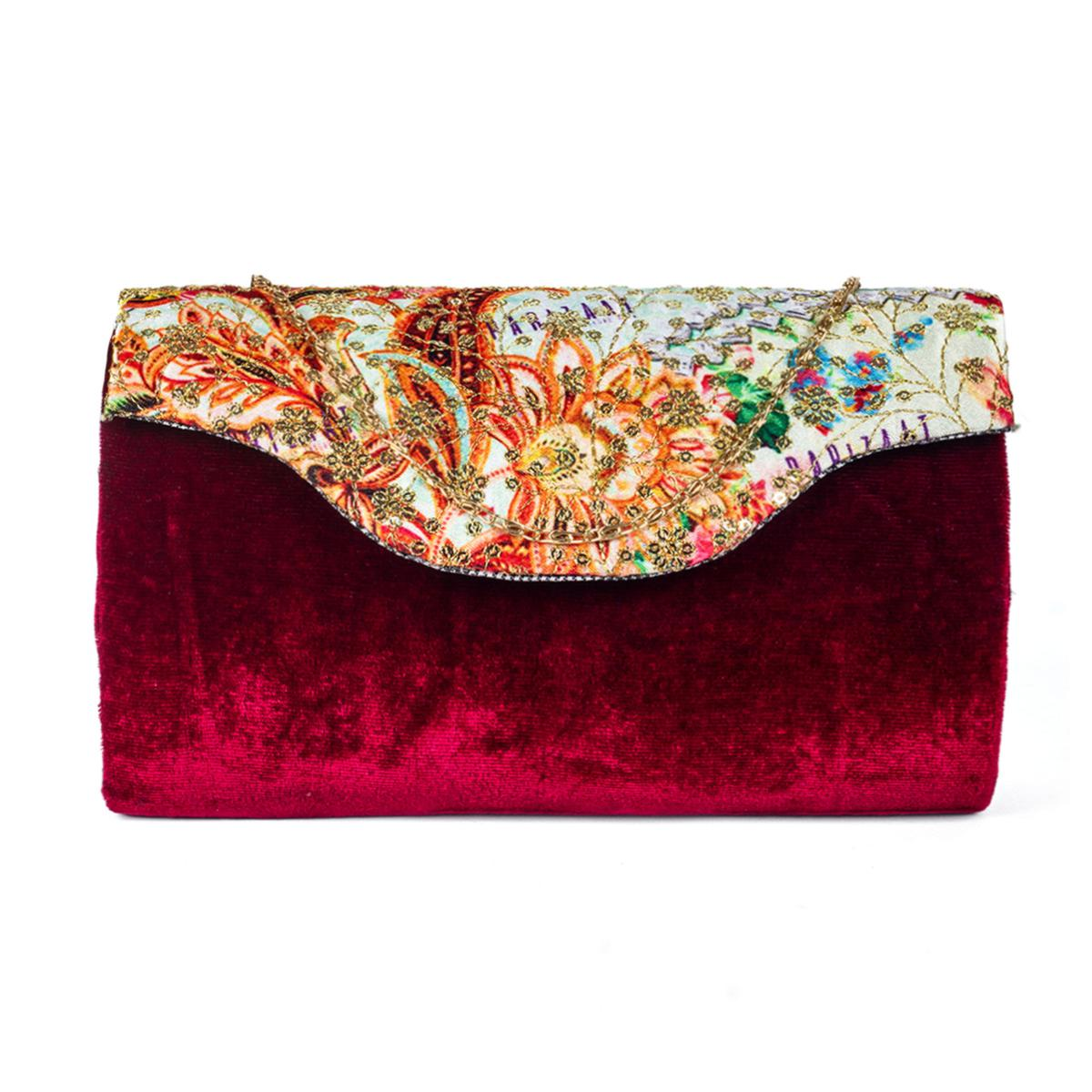 Imposing Maroon Colored Handcrafted Partywear Sequin Embroidered Velvet Sling Bag