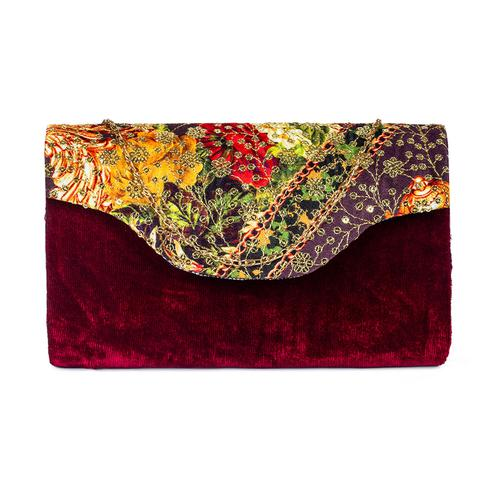Lovely Maroon Colored Handcrafted Partywear Sequin Embroidered Velvet Sling Bag