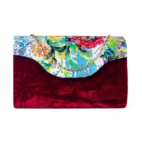 Majesty Maroon Colored Handcrafted Partywear Sequin Embroidered Velvet Sling Bag