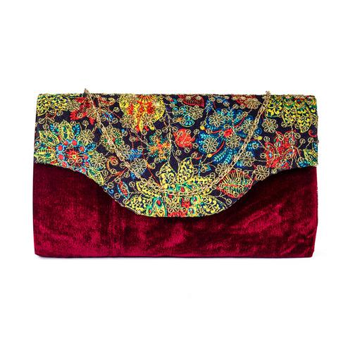 Impressive Maroon Colored Handcrafted Partywear Sequin Embroidered Velvet Sling Bag