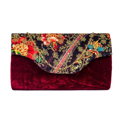 Mesmerising Maroon Colored Handcrafted Partywear Sequin Embroidered Velvet Sling Bag
