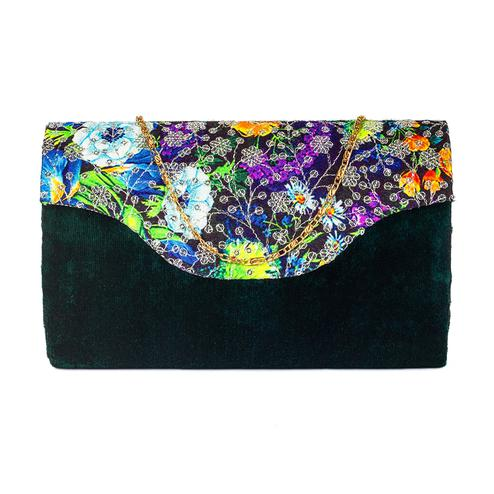 Pleasance Green Colored Handcrafted Partywear Sequin Embroidered Velvet Sling Bag