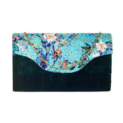 Breathtaking Green Colored Handcrafted Partywear Sequin Embroidered Velvet Sling Bag