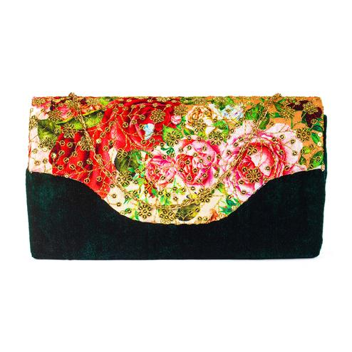 Surpassing Green Colored Handcrafted Partywear Sequin Embroidered Velvet Sling Bag