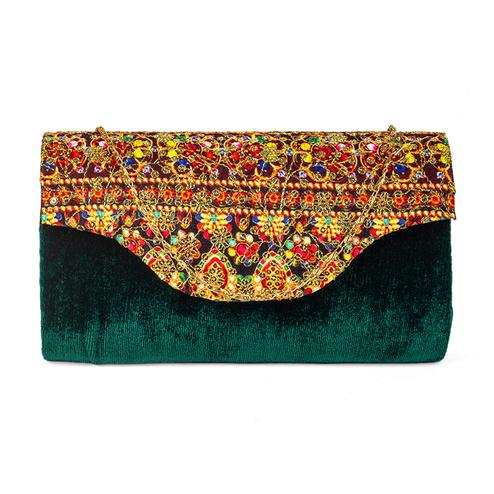 Desirable Green Colored Handcrafted Partywear Sequin Embroidered Velvet Sling Bag