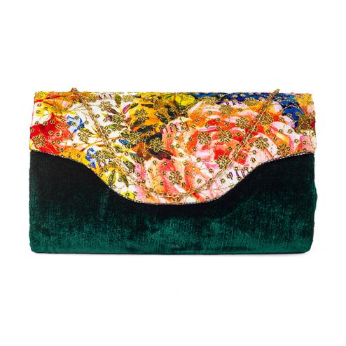 Exotic Green Colored Handcrafted Partywear Sequin Embroidered Velvet Sling Bag
