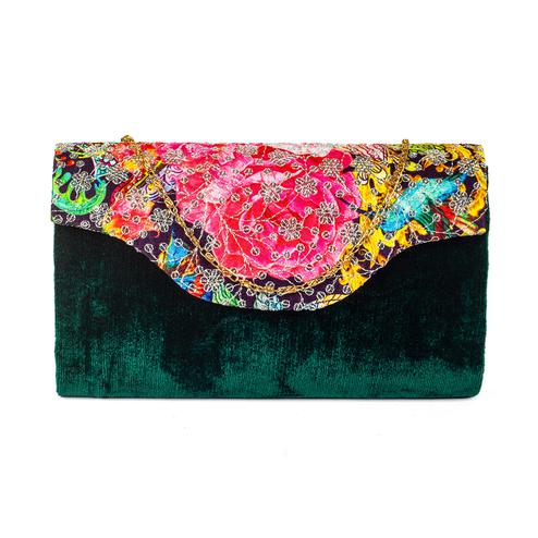 Sophisticated Green Colored Handcrafted Partywear Sequin Embroidered Velvet Sling Bag