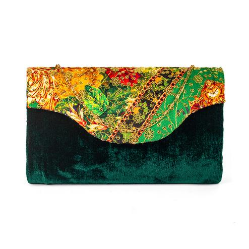 Trendy Green Colored Handcrafted Partywear Sequin Embroidered Velvet Sling Bag