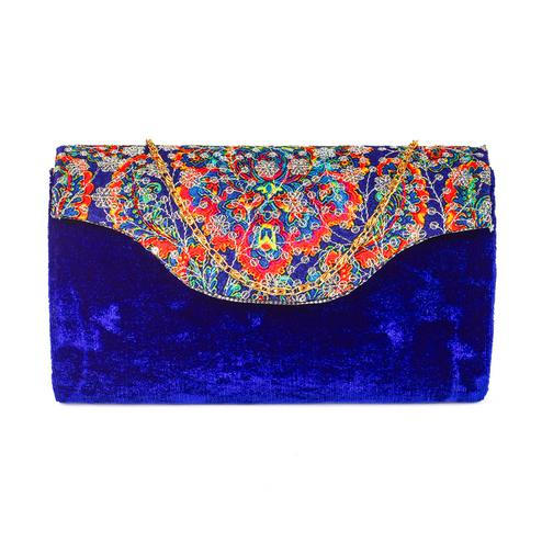 Pleasant Blue Colored Handcrafted Partywear Sequin Embroidered Velvet Sling Bag