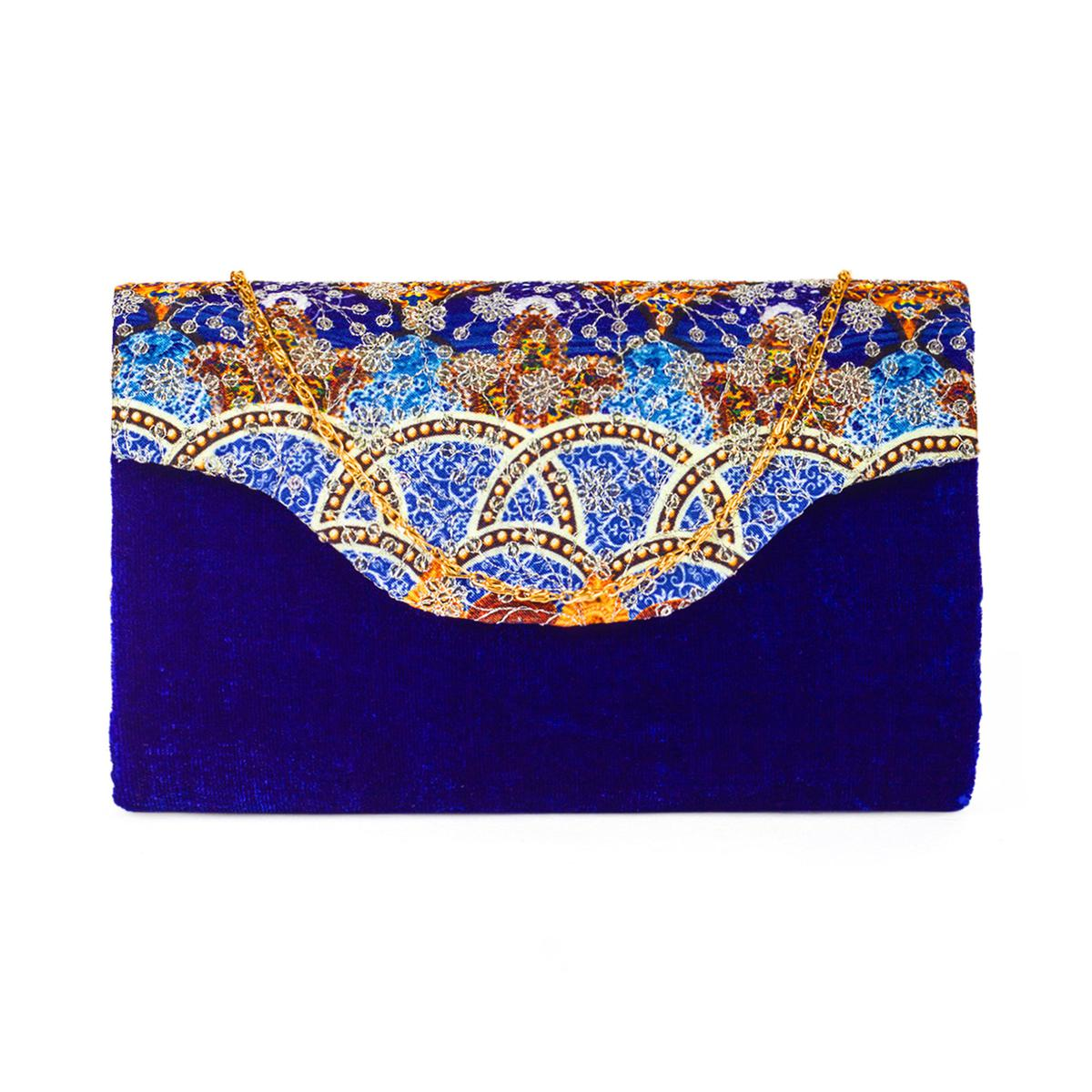 Energetic Blue Colored Handcrafted Partywear Sequin Embroidered Velvet Sling Bag