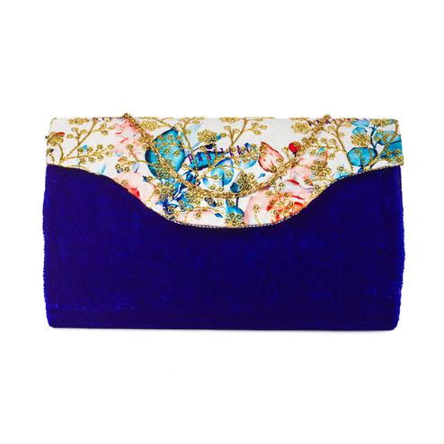 Glowing Blue Colored Handcrafted Partywear Sequin Embroidered Velvet Sling Bag