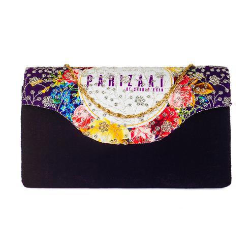 Exceptional Black Colored Handcrafted Partywear Sequin Embroidered Velvet Sling Bag