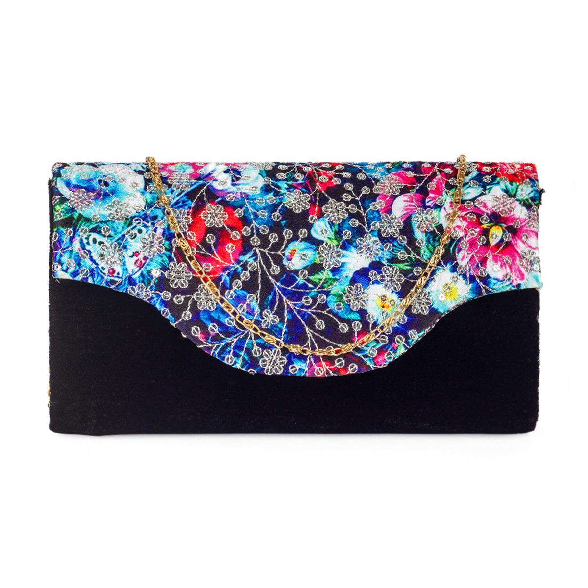 Unique Black Colored Handcrafted Partywear Sequin Embroidered Velvet Sling Bag