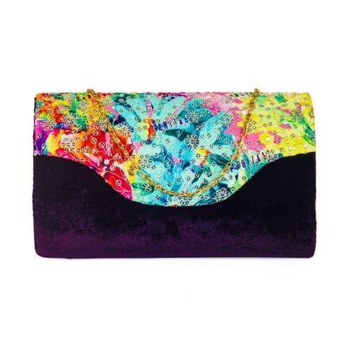 Refreshing Black Colored Handcrafted Partywear Sequin Embroidered Velvet Sling Bag