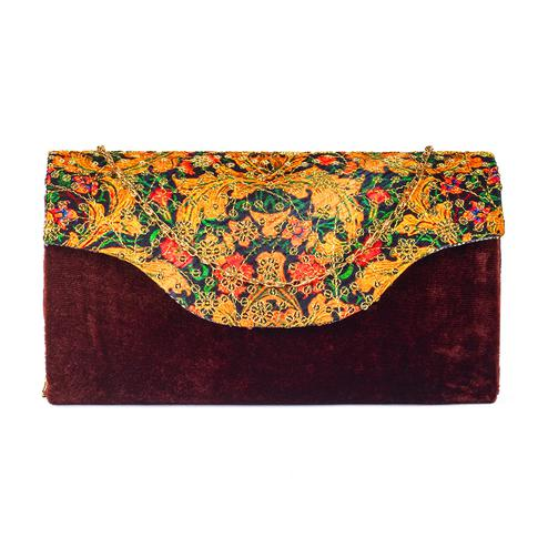 Magnetic Brown Colored Handcrafted Partywear Sequin Embroidered Velvet Sling Bag