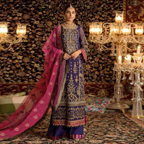 Classy Violet Colored Party Wear Embroidered Faux Georgette Palazzo Suit