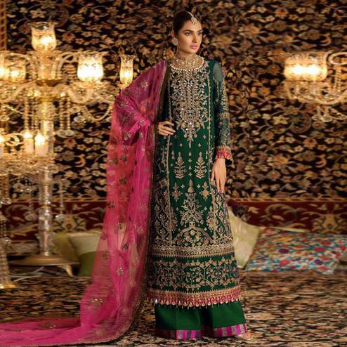 Prominent Green Colored Party Wear Embroidered Faux Georgette Palazzo Suit