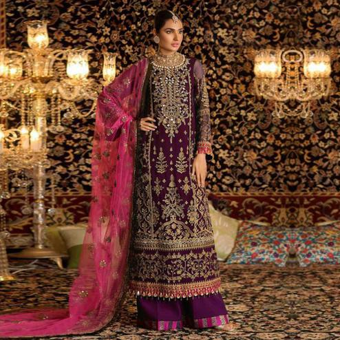 Appealing Purple Colored Party Wear Embroidered Faux Georgette Palazzo Suit
