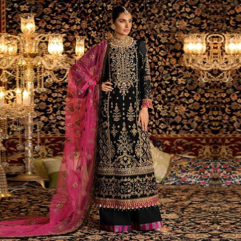 Groovy Black Colored Party Wear Embroidered Faux Georgette Palazzo Suit
