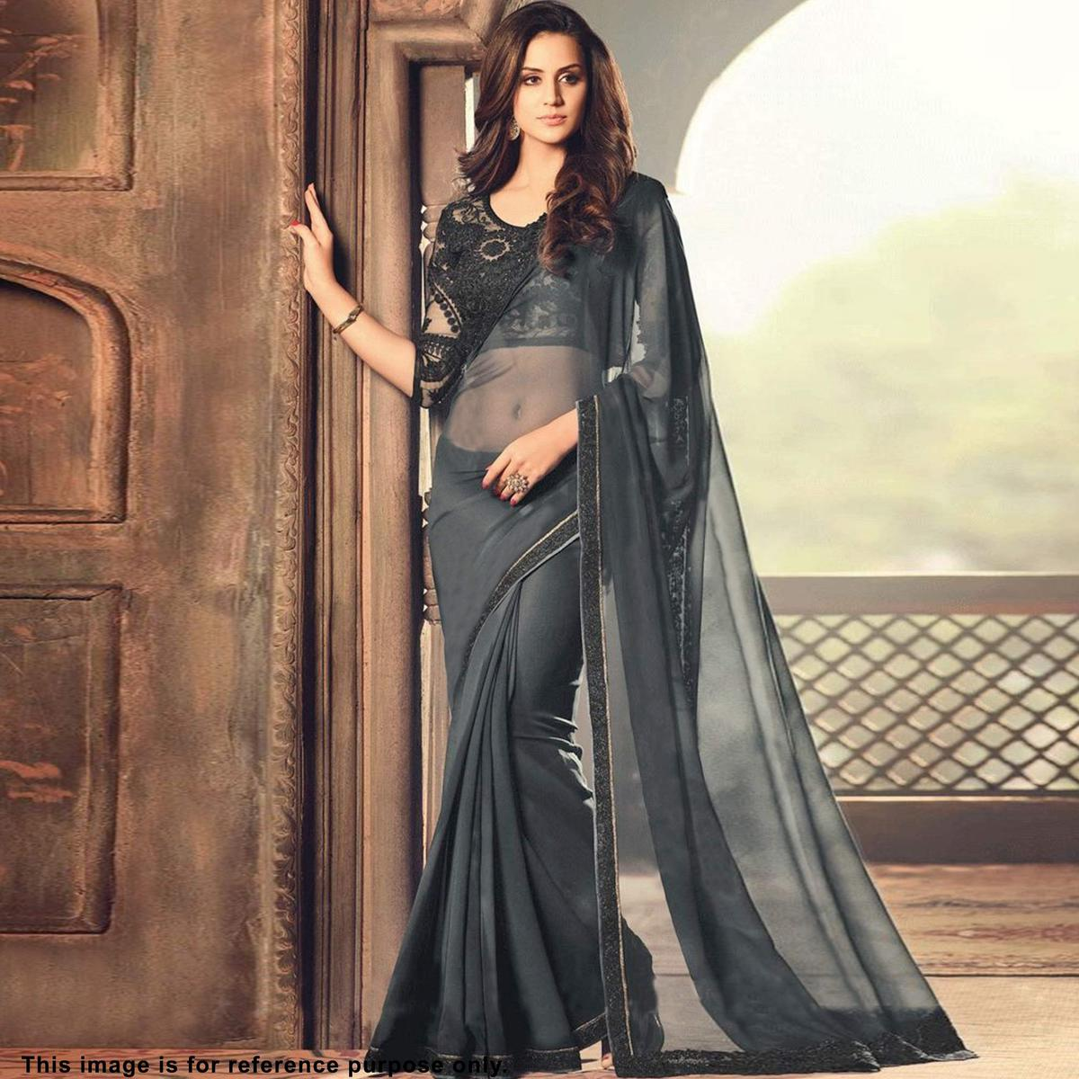 Flaunt Grey Colored Partywear Embroidered Georgette Saree