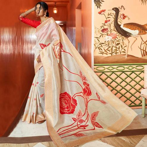 Pleasant Off White Colored Festive Wear Woven Silk Saree