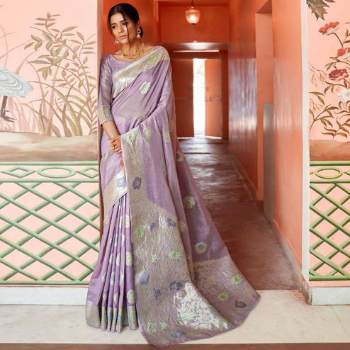 Energetic Lavender Colored Festive Wear Woven Silk Saree